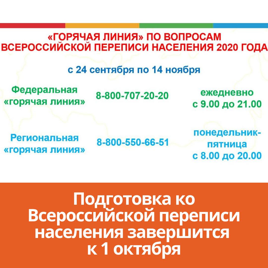 Подготовка ко Всероссийской переписи завершится к 1 октября